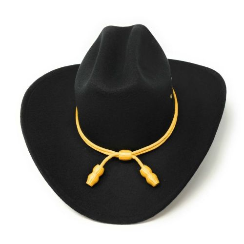 Black Cattleman Style Cowboy Hat With Yellow Cavalry Rope